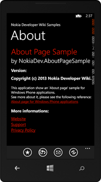 About about... Here's an Windows Phone About page sample ...